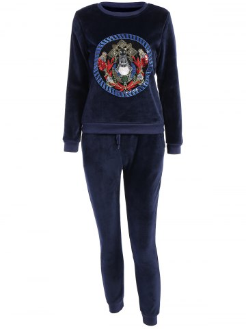 Discount Embroidered Sweatshirt and Running Jogger Sweatpants DEEP BLUE 3XL