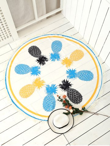 New Round Pineapple Patterned Tassel Beach Throw WHITE ONE SIZE