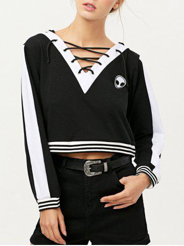 Online V Neck Lace Up Alien Cropped Hoodie