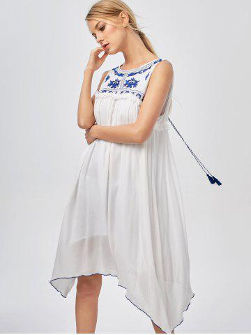 Casual Hanky Hem Bohemian Summer Dress - Blue And White - S