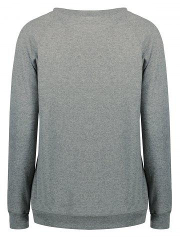 Outfits Crew Neck Letter Print Funny Sweatshirt - XL GRAY Mobile