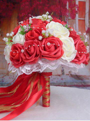 Trendy Faux Pearl Chain Artificial Rose Bridal Wedding Bouquets RED