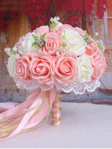 Buy Faux Pearl Chain Artificial Rose Bridal Wedding Bouquets - LIGHT PINK  Mobile