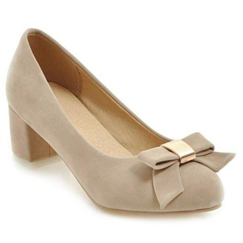 Fancy Round Toe Bowknot Pumps