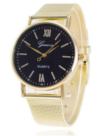 New Metal Mesh Band Number Quartz Watch BLACK