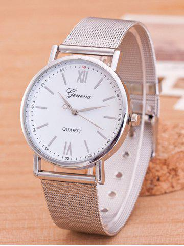 Online Metal Mesh Band Number Quartz Watch SILVER AND WHITE