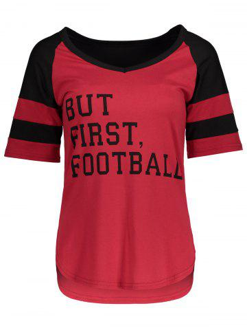Buy Panel Football Letter High Low T-Shirt RED WITH BLACK M