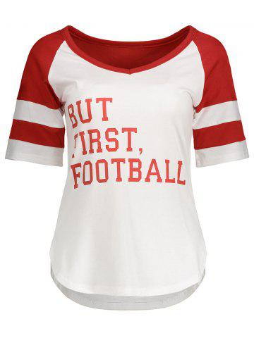 Hot Panel Football Letter High Low T-Shirt RED M