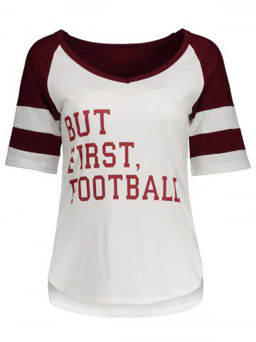 New Panel Football Letter High Low T-Shirt