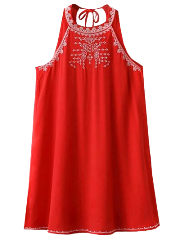 Online Cut Back Sleeveless Halter Embroidered Dress RED L