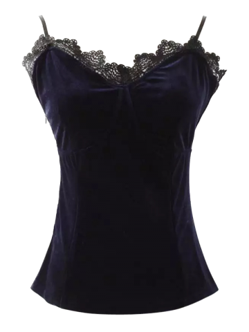 Affordable Cami Velvet Lace Insert Tank Top PURPLISH BLUE S