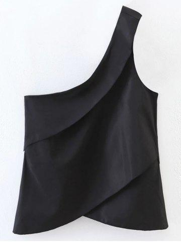 Chic Layered One Shoulder Tank Top BLACK M