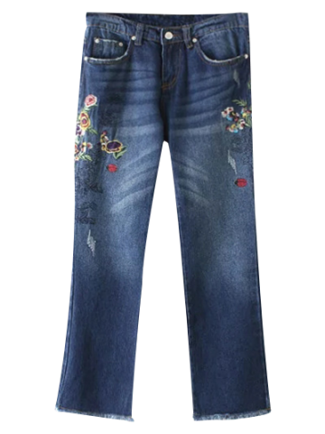 Shop Frayed Hem Floral Jeans