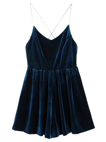 Cheap Velvet Slip Low Back Skirted Romper PEACOCK BLUE S