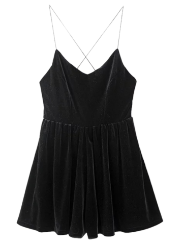 Outfit Velvet Slip Low Back Skirted Romper BLACK L