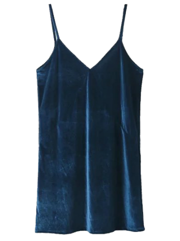 Fancy V Neck Velvet Slip Dress LAKE BLUE XS