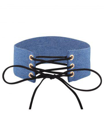 Outfits Adjustable Denim Bowknot Choker Necklace
