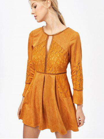 Cut Out Lace Insert Long Sleeve Dress - Ginger - L