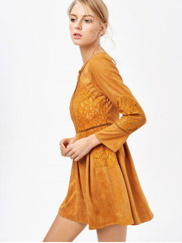 Best Cut Out Lace Insert Long Sleeve Dress - M GINGER Mobile