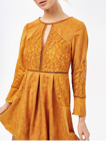 Sale Cut Out Lace Insert Long Sleeve Dress - M GINGER Mobile