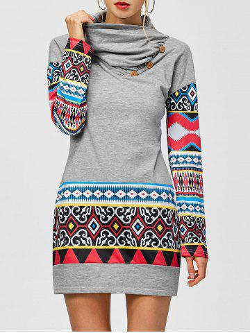 Online Tribal Print Long Sleeve Sheath Dress