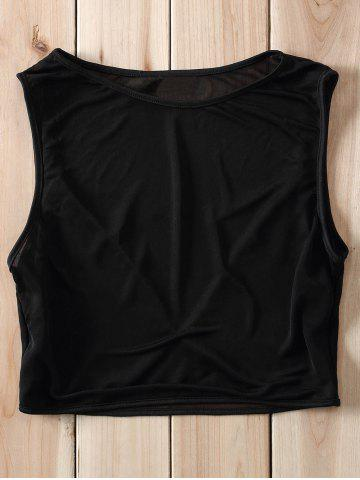 Buy Sexy Style Jewel Neck Voile Splicing See-Through Crop Top For Women - S BLACK Mobile