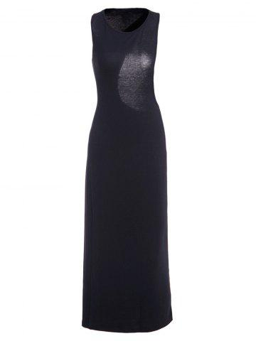 Sexy Style Jewel Neck Asymmetrical Backless Sleeveless Dress For Women - Black - M