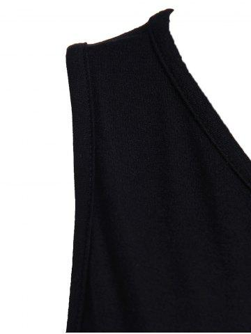 Store Sexy Style Jewel Neck Asymmetrical Backless Sleeveless Dress For Women - M BLACK Mobile