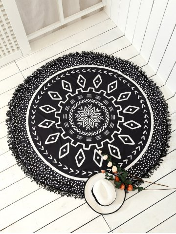 Sale Round Argyle Mandalas Tassel Beach Throw - ONE SIZE BLACK Mobile