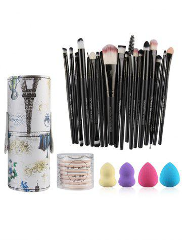 20 Pcs Makeup Brushes Kit + Makeup Sponges + BB Cream Air Puffs - Black