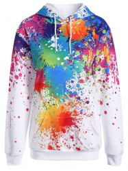 Splatter Paint Plus Size Hoodie - WHITE