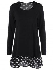 Flounce Polka Dot Long T-Shirt