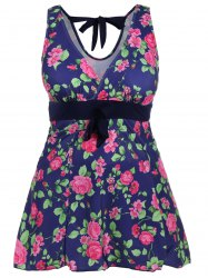 Retro Style V-Neck Rose Print Swimsuit For Women - BLUE