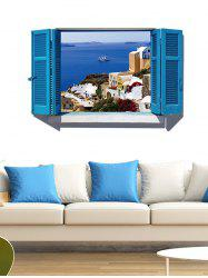 Removable 3D Faux Window Scenery Wall Sticker - BLUE