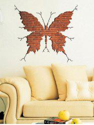 Vinyl Removable 3D Butterfly Broken Wall Sticker - BROWN