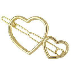 Double Heart Hollow Out Hairpin - GOLDEN