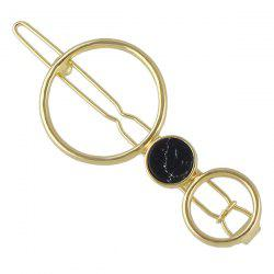 Faux Gem Round Hollow Out Hairpin - BLACK
