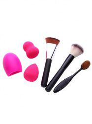 3 Pcs Makeup Brushes + Brush Egg + Makeup Sponges - BLACK