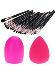 20 Pcs Fiber Eye Makeup Brushes Set + Makeup Sponge + Brush Egg - BLACK