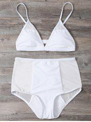 Mesh Panel High Waisted Triangle Bikini Set