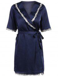 Lace Hem Nightdress and Sleep Robe with Belt