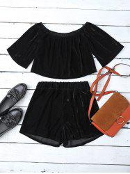 Velvet Off Shoulder Crop Top and Shorts - BLACK