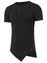 Half Button Asymmetric Tee - BLACK