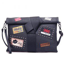 Patches Rivet Roll Top Clutch Bag - BLACK