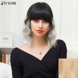 Siv Hair Medium Neat Bang Colormix Shaggy Wavy Human Hair Wig