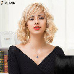 Siv Hair Medium Oblique Bang Fluffy Wavy Bob Human Hair Wig