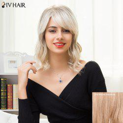 Siv Hair Medium Inclined Bang Fluffy Wavy Colormix Human Hair Wig