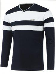 Long Sleeve V Neck Striped T Shirts -