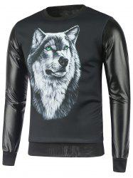 Faux Leather Insert Wolf Print Sweatshirt
