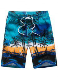 3D Coconut Tree Print Board Shorts - BLUE